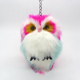 Wholesale Wholesale Female Leather Bag - New Fashion 15cm Faux Rabbit Fur Pom Pom Owl Key Chain Women Bag Charms Keychain Female Car Key Ring Jewelry Trinket Man Keyring