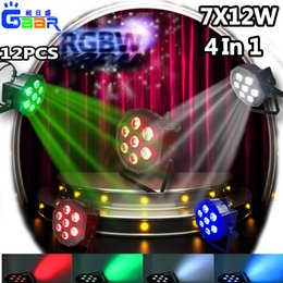 Wholesale Led Flat Rgbw - 12PCS 5D 7X12W LED 4IN1 RGBW Par Wash Light DMX 512 PAR64 CAN Flat For KTV Stage DJ Wash Wedding High Power Light