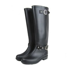 Wholesale Black White Heeled Boots - good quality new women men tall knee high   short style rubber rainboots Welly rain boot water shoes for adult