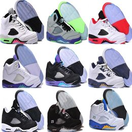 Wholesale Space Beans - 2017 High Quality air retro 5 men Basketball Shoes metallic Silver Grape Laney Green Bean Mark Ballas bin space jam sport sneakers Boost