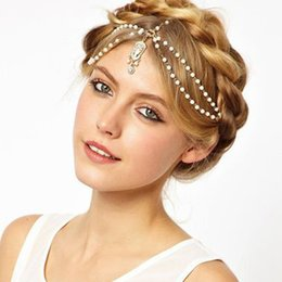 Wholesale Red Jewelry For Bride - Crystal Pearls Bridal Headpieces For Bride Tiara Bridal Headbands Wedding Hair Head Pieces Wedding Accessories for Women Jewelry