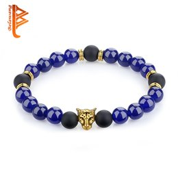 Wholesale Womens Stone Bracelets - BELAWANG Wholesale 10 Pieces Onyx Blue Natural Energy Stone Beads Bracelet Gold Plated Leopard Head Strands Bracelet For Mens Womens