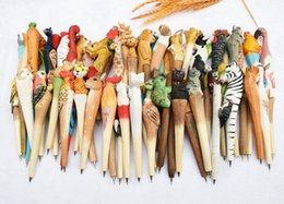 Wholesale Art Handmade - 100pcs lot Animal Wooden carving creative ballpoint pen wood Ball point pens handmade sculpture student ball-point free shipping