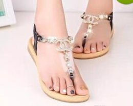Wholesale Shoes Women Channel - 2016 summer styles women sandals female channel rhinestone comfortable flats flip gladiator sandals party wedding shoes Free