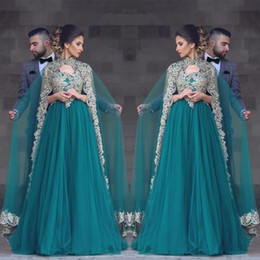 Wholesale Turkish Sexy - Abayas Kaftan Muslim Caped Long Evening Gowns 2017 A Line High Neck Gold Lace Appliques Hunter Green Plus Size Beaded Turkish Prom Gowns