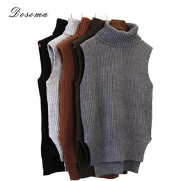 Wholesale Vest Turtleneck - Wholesale- turtleneck sleeveless top 2016 fashion autumn winter turtleneck sweater casual knitting vest top sleeveless sweater knitted vest