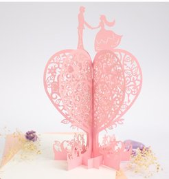 Wholesale Cards For Wishing Tree - (10 pieces lot)Creative 3D Stereoscopic Love Tree Greeting Cards Birthday Wedding Valentine's Day Heart Gift Cards for Lovers
