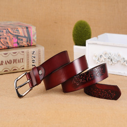 Wholesale Western Floral Belt Buckle - Fashion Vintage 30mm Wide Leather Belts for Women Embossed Western Strap with Pin Buckle 5 colors Select