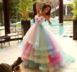 Wholesale Colorful Evening Gowns - Colorful Rainbow Ombre Junior Quinceanera Drsses 2017 Tiered Tulle Ball Gown Formal Party Prom Dresses Sweet Sixteen Evening Dresses BA1754