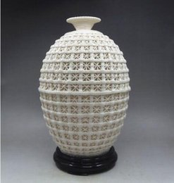 Wholesale Porcelain Blue Ceramic Vases - Chinese Dehua Porcelain Carved Hollowed Basket Big Vase