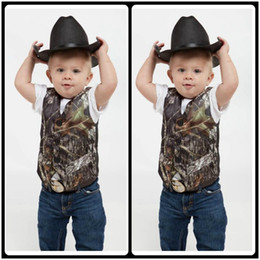 Wholesale Formal Suits For Weddings - 2017 Custom Camo Boy's Formal Wear Camouflage Real Tree Satin Vest Cheap Sale Only Vest For Wedding Kids Boy Formal Wear