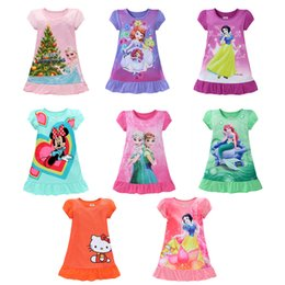 Wholesale European Summer Mini Dress - Summer girls dresses Elsa Anna Mermaid Sofia Snow White Minnie kids pajamas polyester nightgowns sleepwear clothes 3~9T 0901262