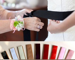 Wholesale Crystal Wedding Sashes For Dresses - 10 Colors Cheap Wedding Sashes Satin With Crystal Bridal Accessories Sashes For Wedding Dress White Red Brand Elegant Online