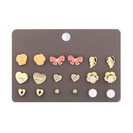 Wholesale Cute Cross Ring - 6 pair set newest korean cute fashion stud earrings for young girl flower crown cross love leaf butterfly stud ear rings