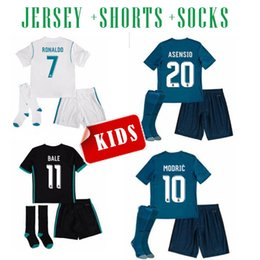 Wholesale Youth Ronaldo Jerseys - 17 18 Real Madrid ASENSIO kids soccer jersey kits youth boys child jerseys kits 2017 2018 RONALDO BALE ISCO RAMOS football shirts third blue