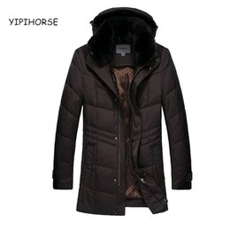 Wholesale Men S Rabbit Fur - Wholesale- 2017 autumn and winter Rabbit fur collar long down jacket coat men thickening Hooded warm comfortable Men's down long jacket 175