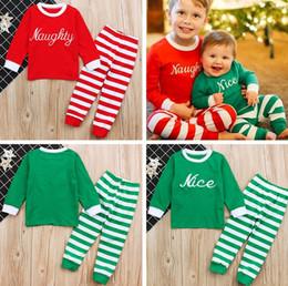 "Wholesale girl naughty - INS ""Naughty Nice"" Boys Girls Xmas Christmas Pajamas Kids Cotton 2pcs set Children Long Sleeve Xmas Striped Deer print Night Wear Clothing"