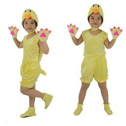 Wholesale Duck Birthday Party Supplies - 2018 Summer Short Cartoon Animals Yellow Duck Costume For Children Cosplay Clothing Birthday Children's Day Party Supplies