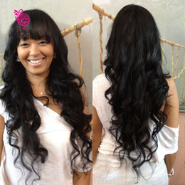 Wholesale Hair Lace Wig Glue - Glueless And Glue Full Lace Human Hair Wigs with Bangs Virgin Brazilian Body Wave Human Hair Lace Front Wig with Bangs for Women