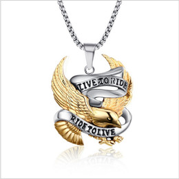 Wholesale Stainless Steel Bikers Chain - Fashion Eagle Necklace Pendants LIVE TO RIDE Biker Sport Men Gold Plated Stainless Steel Hero Jewelry PN-158