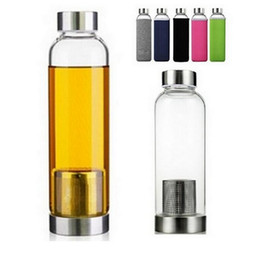 Wholesale Stainless Water Bottles - 22oz Glass Water Bottle BPA Free High Temperature Resistant Glass Sport Water Bottle With Tea Filter Infuser Bottle Nylon Sleeve