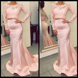 Wholesale Stretchy Long Dress - Gorgeous Long Sleeves Two Pieces Prom Dresses 2018 New Hot Mermaid Evening Gowns with Appliques Stretchy Long Train Party Wear Gowns