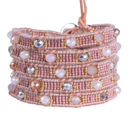 Wholesale Seed Beaded Bracelets - KELITCH Jewelry 1Pcs Light Pink Seed Beads 5 Wrap Leather Natural Stone Beaded Bracelet Adjustable Handmade Charm Bracelet