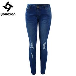 Wholesale Tie Dye Jeans Women - Wholesale- 1884 Youaxon Women`s High Street Ripped Knees Strech Low Rise Denim Pencil Skinny Pants Trousers Femme Jeans For Women