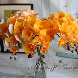 Wholesale Wholesale Blue Orchids - Wholesale-8pcs Lot Artificial Flowers Real Touch Artificial Moth Orchid Butterfly Orchid for new House Home Wedding Festival Decoration