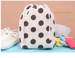 Wholesale Silk Cloth Drawstring Bags - Wholesale- Cotton Canvas Drawstring Bag Muslim Style Simple Personality Black Spots White Cloth Sacks Wholesale Good Quality free shipping