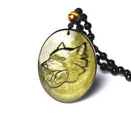 Wholesale Carved Jade Charms - natural Gold Obsidian stone Hand carved Wolf pendants House Stark of Winterfe
