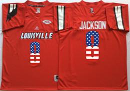 Wholesale Man Flags - Louisville Cardinals Red 8 Lamar Jackson 2017 New Style Mens College Football Jersey Men Flag Jerseys