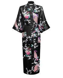 mujeres kimono chino Rebajas Al por mayor-Mujeres Nueva llegada Robe Plum Size Estilo chino Kimono hecho a mano pintado Kaftan Robe vestido bata de dormir ropas S-3XL RB02148