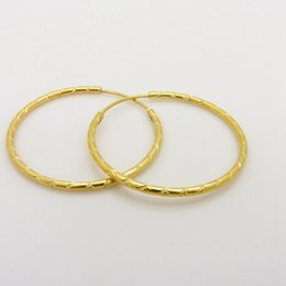Wholesale Solid Yellow Filled Hoop - Hoop Earrings 18k Yellow Gold Filled Solid Large Circel Earrings