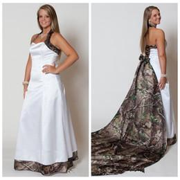 Wholesale Camouflage Dresses Plus Size - Custom Made Camo Wedding Dresses 2017 Halter Detachable Camouflage Train Bridal Gowns Plus Size Cheap Vestidos De Novia