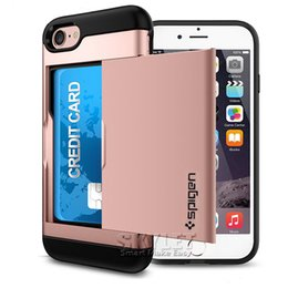 Wholesale Wholesale Soft Slide - For Iphone 7 Plus Slide Card Slot Wallet Case Hybrid PC Soft TPU Armor Case Dual Layer Protector Case For Iphone 7 S7 Retail Package