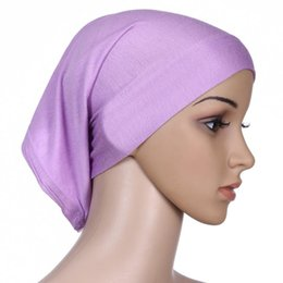 Wholesale New Style Hijab Scarf - 2018 Fashion New Style Mercerized Cotton Muslim Inner Hijab Caps Islamic Underscarf Hats Hijab multi colors