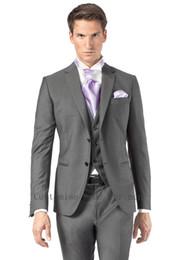 Wholesale Grey Bespoke Tuxedo - 2016 New Arrival Bespoke Grey Classic Wedding Groom Suits For Men Wedding Tuxedos Groomsmen Best Man Suit (Jacket+Pants+Vest+Tie