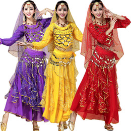 Wholesale Indian Dress Wear - Female Indian Dance DS Club Singer Clothing Belly Dance Costume Full Sets Dress For Women Bellywood Ballroom Stage wear dancing Outfits
