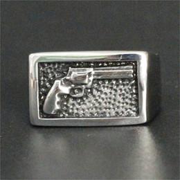 porcelana Desconto 5 pçs / lote Mais Novo Design Legal Gun Ring Aço Inoxidável 316L Moda Jóias Homens Populares Mão Anel de Pistola