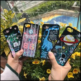Wholesale Baseball Skins - For Iphone 7 Plus Iphone7 I7 6 6S Quicksand Liquid PC+TPU Case Cartoon Earth Dinosaur Star Baseball Bear Galaxy Flow Glitter Skin Cover