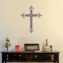 Wholesale Colors Television - Latin Cross Wall Decal Sticker Religious Wall Art Decor for Living Room Many colors available