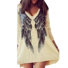 Wholesale Wholesale V Neck Tshirts Women - Wholesale- 2016 High Street Spring Fashion Women\'s Tshirts European American Angel Wings Printed V-neck T-shirts Loose Long-sleeved Shirt