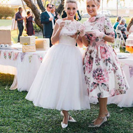 Wholesale Cheap Short Casual Wedding Dresses - Fabulous Casual Short Wedding Dress Tea Length Country Wedding Dresses Sheer Bateau Neck Capped Sleeveless Lace Top Cheap Bridal Gowns