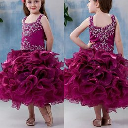 Wholesale Cute Lovely Images - Lovely Girls Pageant Dresses 2017 Cute Purple Spaghetti with Beads Tiered Organza Mini Princess Ball Gowns Kids Cupcake Pageant Gowns