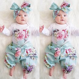 Wholesale Toddler Romper Pcs - New Baby Girls Clothes Sets INS Infant Toddlers Love Pattern Long Sleeve Romper + Flowers Printing Pants+Headband 3 pcs suits Children Suit
