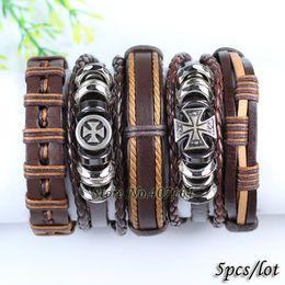 Wholesale Tribal Jewelry For Men - ashion Jewelry Bracelets FL77-brown cross ethnic tribal wrap braid genuine leather handmade bracelet with hemp rope for men 2017 (5pcs lo...