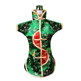 Wholesale Unique Chinese - Unique Chinese Ethnic Craft Wine Bottle Cover Clothes Vintage Flower Silk Brocade Dust Bag Bottle Decor Bags Packaging Pouch