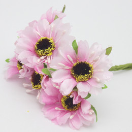 Wholesale Hand Tissues - Wholesale- Silk Flowers Artificial Flowers Simulation High Quality Chrysanthemum Daisy 6pcs lot Tissue Hand Made Wedding Decoration