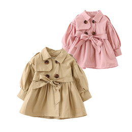 Wholesale Newborn Babies Belts - cute baby girl causal trench coat solid belt European style coat for 9-36M babies newborn infant outerwear coat clothes hot
